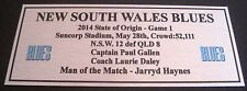 NRL NSW  State of Origin 2014 game 1 Silver  Plaque FREE POSTAGE