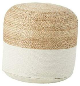 Sweed Valley Jute & Cotton Pouf, 20 x 20 Inches, Beige & White