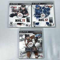 PS3 Playstation 3 NHL 11, 12, 13 Hockey Game Lot Tested CIB