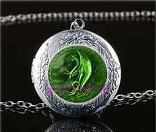 Celtic Green Dragon Cabochon Glass Tibet Silver Locket Pendant Necklace