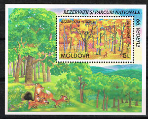 Moldova Fauna Foxes in Woods Souvenir Sheet 1999 MNH