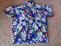 Vintage RIMA Mens Hawaiian Shirt Aloha Parrots Hibiscus Terivoile XL