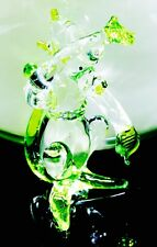 Monkey Glass Figurine Tiny Animal Crystal Craft Green HandPaint Collectible Gift