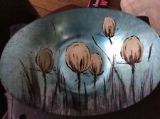 oval bowl - blue with flowers