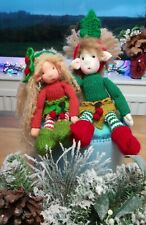A Pair of Christmas Elves - Hand Knitted Unique Craft Dolls - New