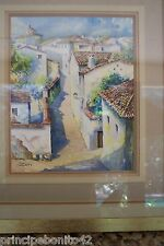 SPANISH VILLAGE WITH BEAUTIFUL STREETS--Exquisitively detailed watercolor