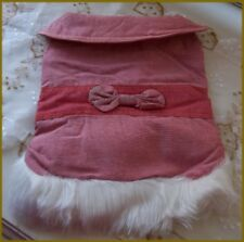 NEW Pink Pet Dog Coat with Bow & White Faux Fur Trim