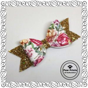 """Floral Glitter Hair Bow - Gold & Pink Flowers Sparkly 4"""" Hair Bow"""
