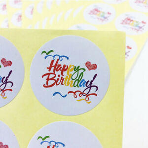 Large Big New Rainbow Series Happy Birthday Stickers Labels Self adhesive 40mm