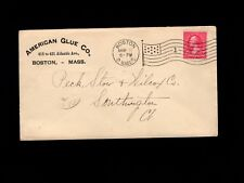 Usa American Glue Co Boston Massachusetts Scarce Flag #1 1898 Cover 4i