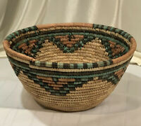 Large Woven Coiled Straw Basket Nigerian Hausa? Green Black Brown Natural