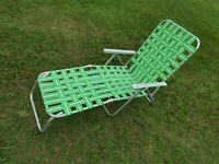 Aluminum Webbed Web Folding Reclining Lawn Chaise Lounge Chair MCM Vtg NEW STRAP