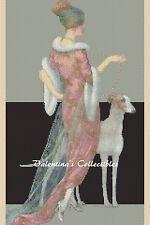 Art Deco Lady w/Greyhound Dog Counted Cross Stitch COMPLETE KIT #1-138