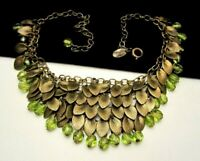 "Vintage 16"" Signed Miriam Haskell Goldtone Green Glass Dangle Bib Necklace A5"