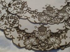 """Set of 5 Gorgeous Madeira Cutwork and Embroidered 9.5"""" Linen Coasters or Doilies"""