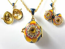 "Blue Summer Flower Easter Egg Pendant W/ 18"" Chain pearl  faberge inspired"