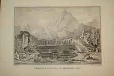 Stampa Antica Tempio Zacwhan Guttemberg Africa Tunisia 1841 old print gravure