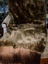"Luxury Designer Brown Mink Faux Fur Embellished with 6"" Fringe Reversible WOW!!!"
