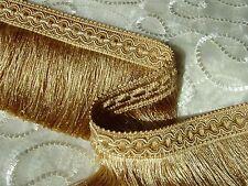 "5 YARDS of 3 1/2"" Light Gold & Gold Cut Brush Fringe Trim ~ Lampshades Throws"
