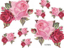 To DiE 4! PinK & ReD DouBle RoSeS ShaBbY WaTerSliDe DeCals ~FuRniTuRe Size~