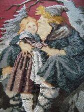 Antique Berlin woolwork Needlepoint PetitPoint Beadswork tapestry Girl in wood.