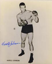 Harold Johnson signed b&w boxing photo
