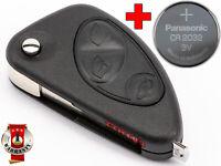 CHIAVE PER ALFA ROMEO GT 147 156 166 GUSCIO FLIP TELECOMANDO + BATTERIA CR2032