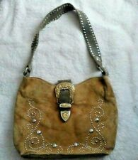 Vintage 80s Brown Suede Women's Purse w Buckle Small