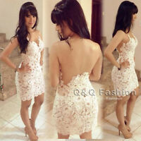 Women Sexy Backless Nude White Lace Mini BodyCon Evening Dress Club Party Prom