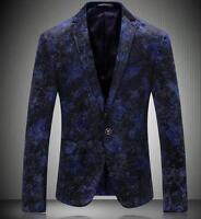 men's floral slim fit one button suit blazer casual lapel business coats jackets
