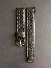 20mm pelle nera perforata Racing RALLY Watch Strap per Omega Speedmaster