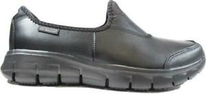 Work:Relaxed Fit®-Sure Track 76536EC Black Leather Womens Slip On Smart Shoes