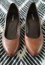 SANDLER Timber Medium Chocolate Dark Tan Wedges round toe 5B
