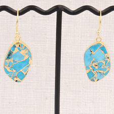 Electroplated Turquoise Slab Pair Earrings Natural Copper Turquoise Slice Gold