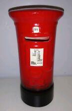 LONDON RED POST BOX ~ MEDIUM CHINA MONEYBOX + STOPPER ~ R MOSS LTD 1026