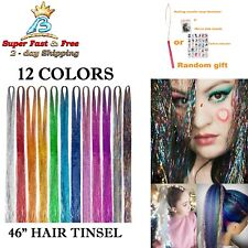 """Sparkling Shiny Hair Tinsel Kit Hair Flairs Extensions 12 Color 46"""" 2000 Strands"""