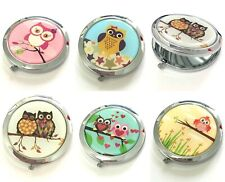 Small Compact 7cm Owl Design Metal Double Sided Mirror Handbag Makeup