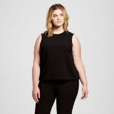 Women Victoria Beckham Plus size Black Stylish Twill Tank Top Size 2X NWT