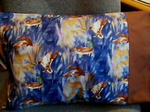 """TRAVEL SIZE PILLOWCASE FLYING DUCKS ON POND /BROWN CUFF 14""""X20"""" #4043"""