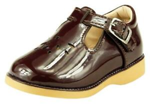 Girl's School Dress Classic Shoes Glossy Brown T Strap Mary Jane Toddler size