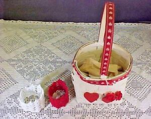 Lot of Two Hand Crocheted Napkin Rings and White Woven Basket with Ribbon Trim