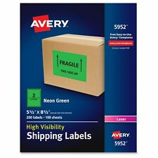 """Avery High-visibility Neon Shipping Labels - 8.50"""" Width X 5.50"""" (ave5952)"""