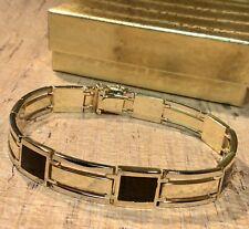 "14k Solid Gold 2 Tone Yellow/White Onyx Mens 8"" Link Bracelet"