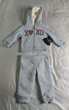 Xoxo Girls 2 Piece Sequined Sherpa Hoodie & Jogger Set BF5 Gray Size 12M NWT