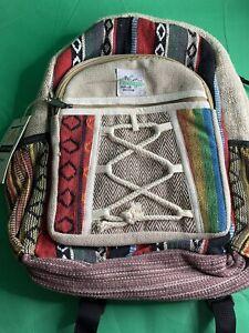 Small Hemp & Cotton Backpack - Eco Friendly Ethnic Hippy Fabric Rucksack Bag new