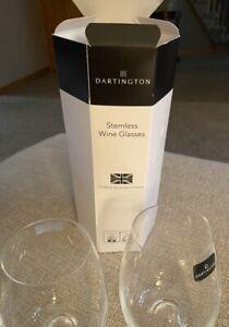 Dartington The British Wine Glass Co.-2 Stemless Wine Glasses New in Box