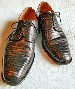 Men's DAVID EDEN VERO CUOIO Oxfords Dress Shoes Size 12 Black Genuine Lizard