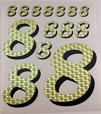 Racing Numbers Number 8 Decal Sticker Pack Gold Black for 1/8 1/10 RC models S01
