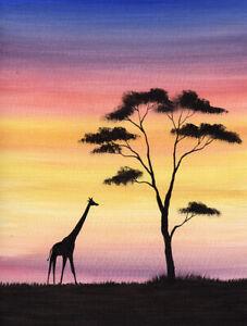 ORIGINAL WATERCOLOUR PAINTING, Africa, Sunset Walk, Giraffe, Sarah Featherstone