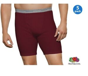 Fruit of the Loom Men's 100% Cotton Long Leg Assorted Boxer Briefs 5-Pack #15